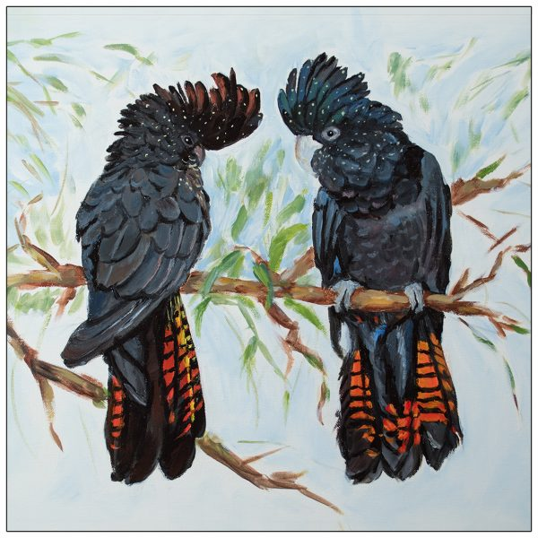 coaster-art-black-cockatoo-pair