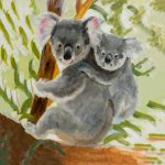 coaster-art-koala-and-baby-green-background