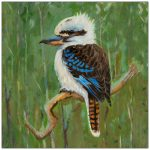 coaster-art-kookaburra-green-background