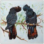 coaster-art-black-cockatoo-pair