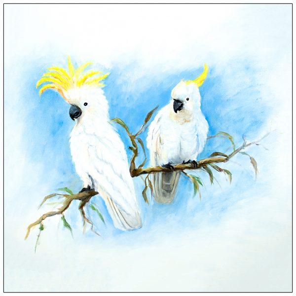 coaster-art-cockatoo-pair