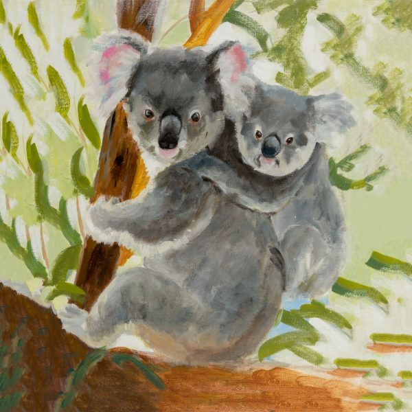 coaster-art-koala-and-baby-green-background