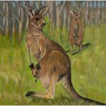 print-kangaroos-green-background
