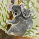 print-koala-and-baby-green-background