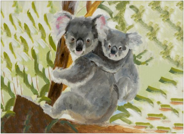 print-koala-and-baby-green-background